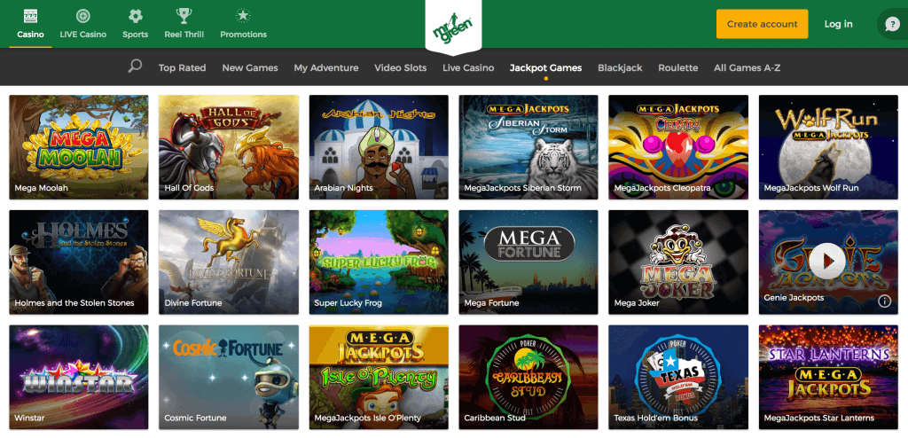 Mr Green Casino Jackpot Games