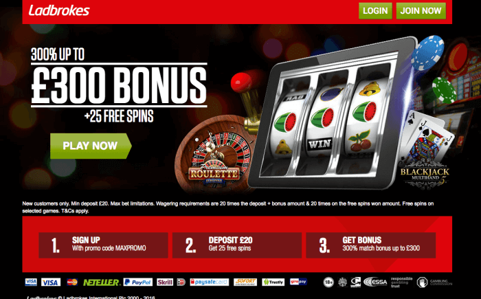 Ladbrokes Casino Welcome Bonus